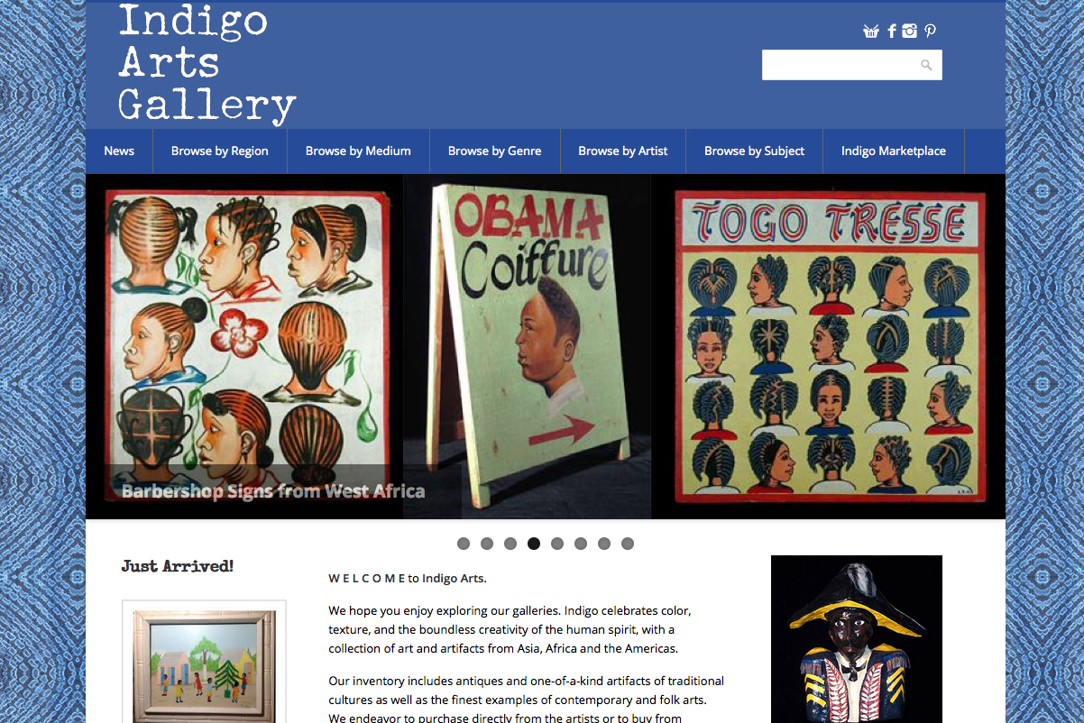 Snapshot of Indigo Arts Gallery website