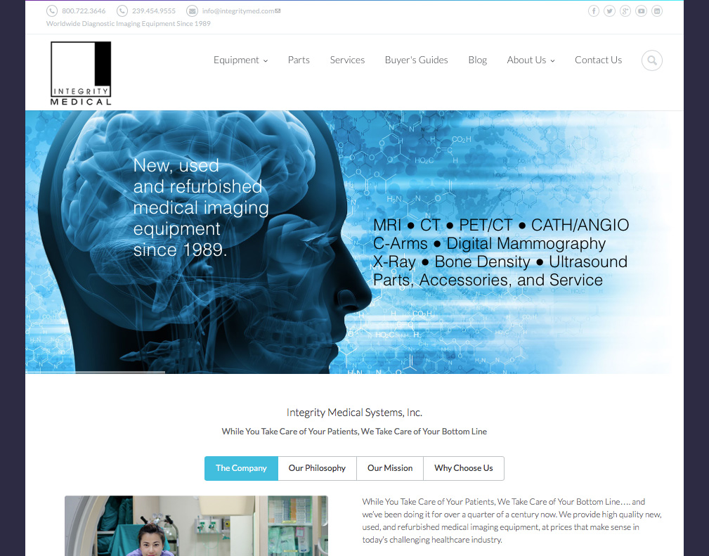 Snapshot of Integrity Medical Website